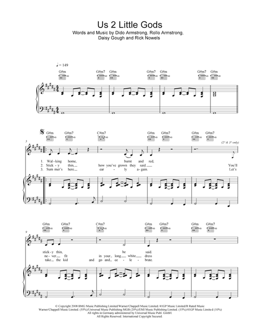 Us 2 Little Gods Sheet Music