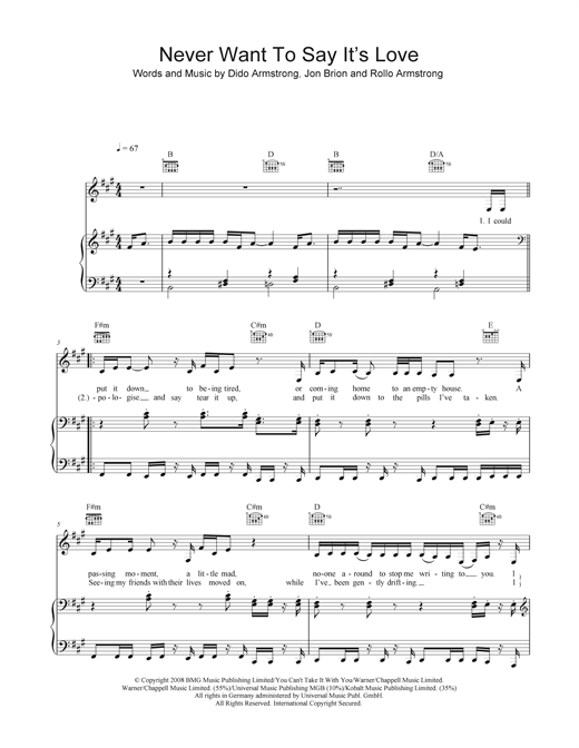 Never Want To Say It's Love Sheet Music