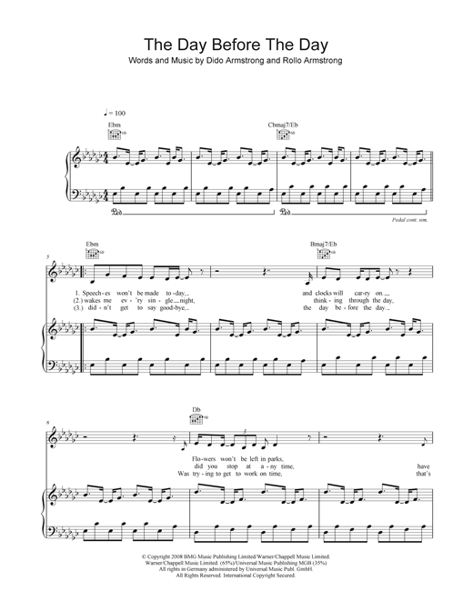 The Day Before The Day Sheet Music