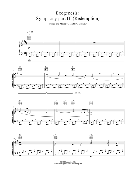 Exogenesis: Symphony Part III (Redemption) Sheet Music