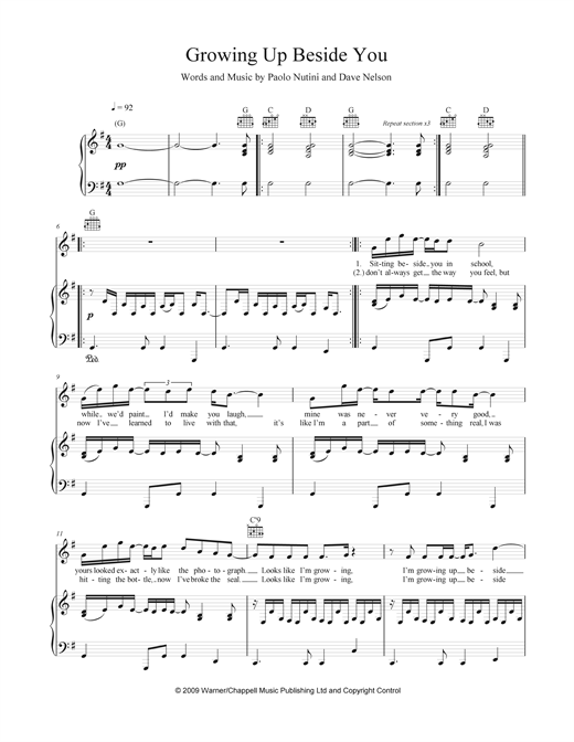Growing Up Beside You Sheet Music