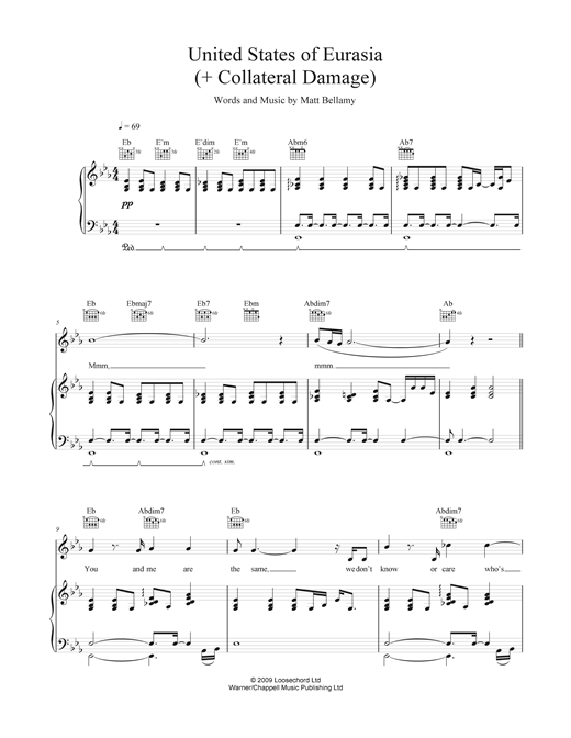 United States Of Eurasia (+ Collateral Damage) Sheet Music