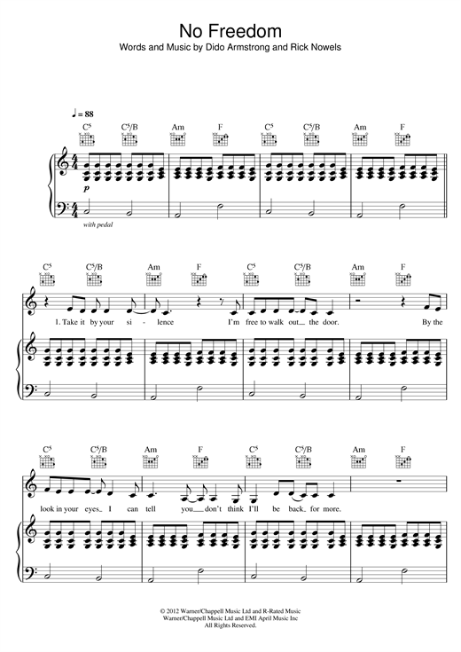 No Freedom Sheet Music