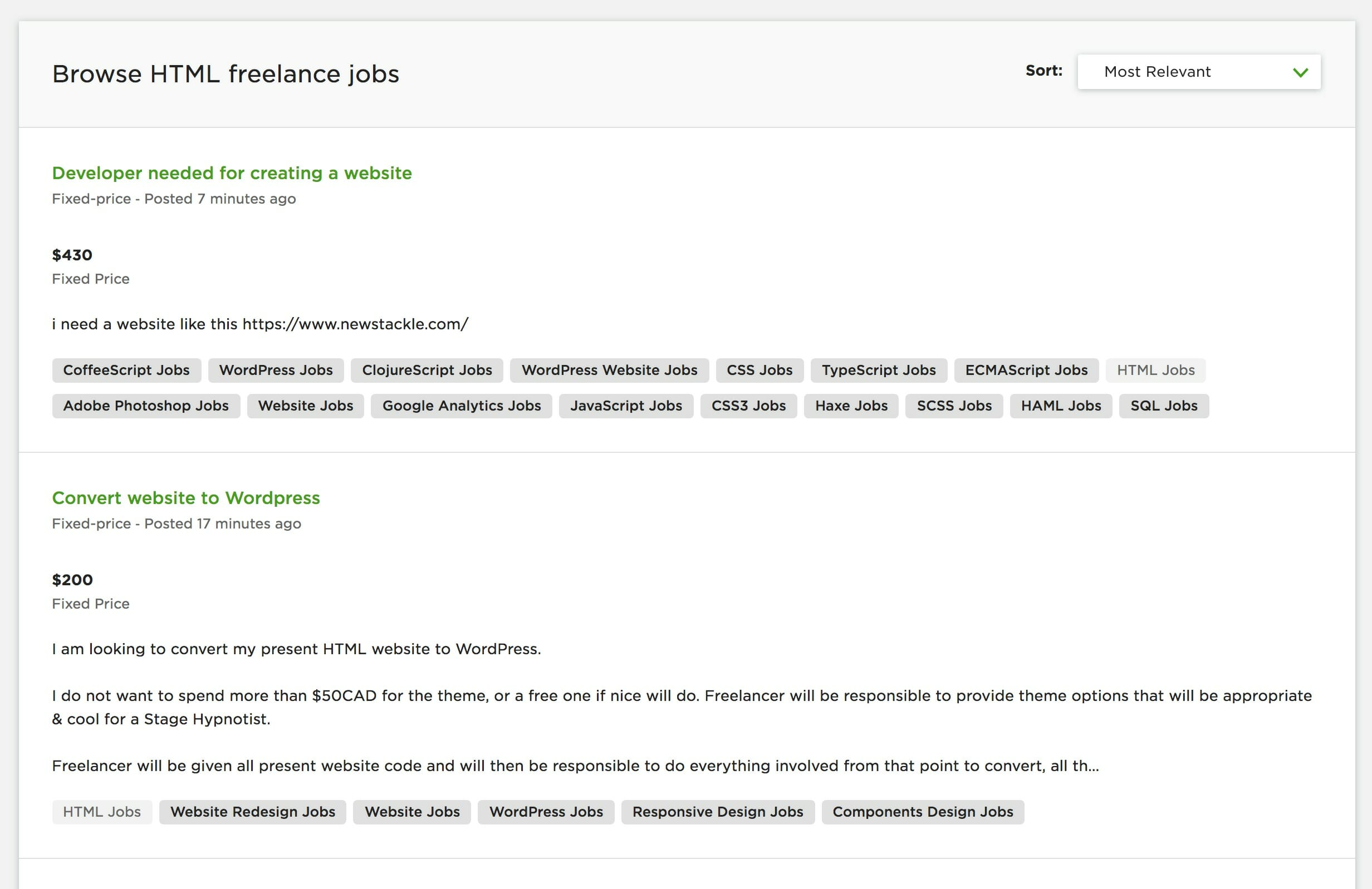 html and css jobs on upwork