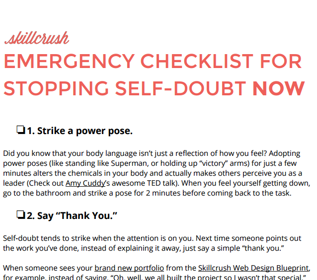 Emergency Checklist to Stopping Self Doubt Fast