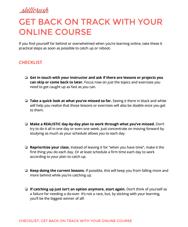 Checklist for Getting Back on Track in Your Online Class