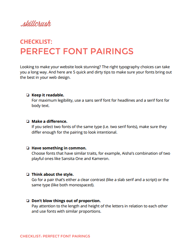 Perfect Font Pairings checklist