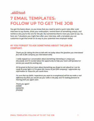 Get Our FREE Guide to 7 Email Templates to Use After the Interview