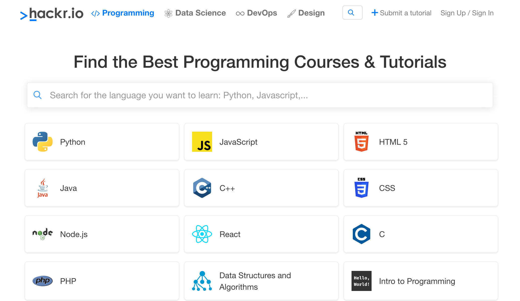free programming courses and tutorials