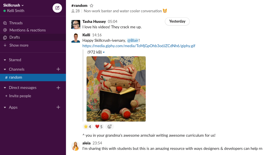team chat on slack