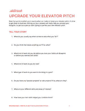 Make an elevator pitch youre actually proud get our spanfreespan elevator pitch worksheet fandeluxe