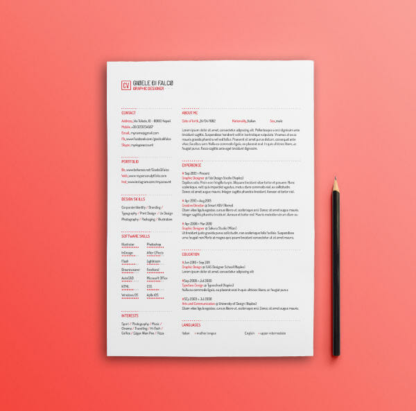 free red minimal resume template - Minimalist Resume Template