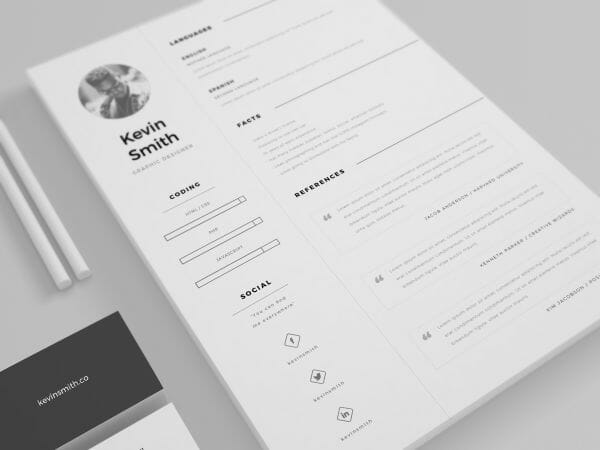 Free Resume Template References  Minimalist Resume Template