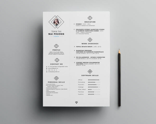 Free Diamond Resume Template Photoshop  Cool Resume Templates Free