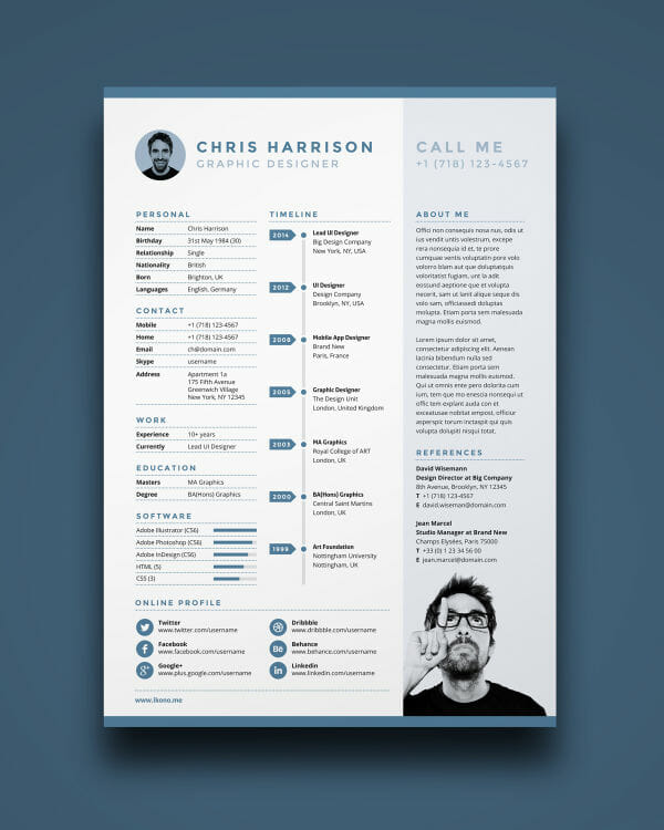 Nice Free Illustrator Photoshop Indesign Resume Template Regard To Free Resume Design Templates