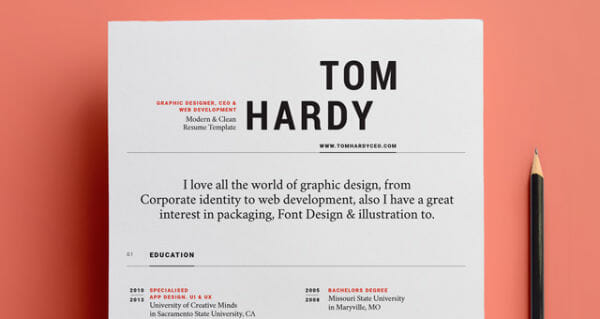 Free Bold Resume Template  Design Resume Templates
