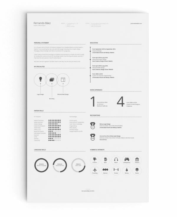 free infographic resume template - Minimalist Resume Template