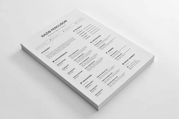 Free Word Illustrator Photoshop Resume Template