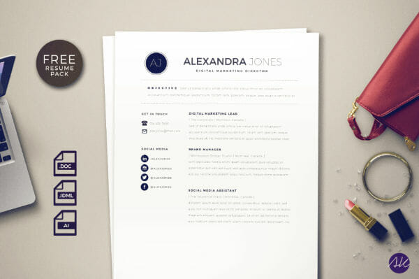 Free Resume Template Social Media Illustrator Word Indesign