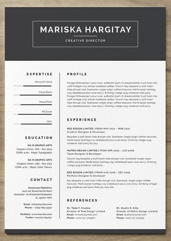 free word resume template - Resume Templates Indesign