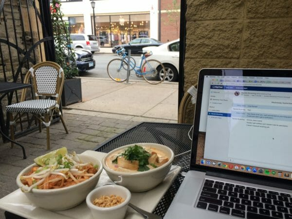 working remotely from a restaurant
