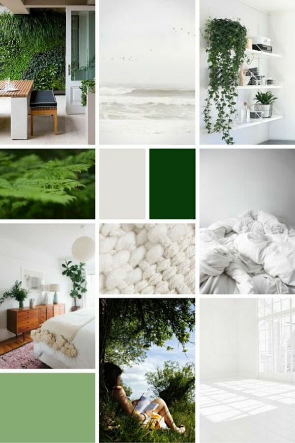 relaxation green plant moodboard