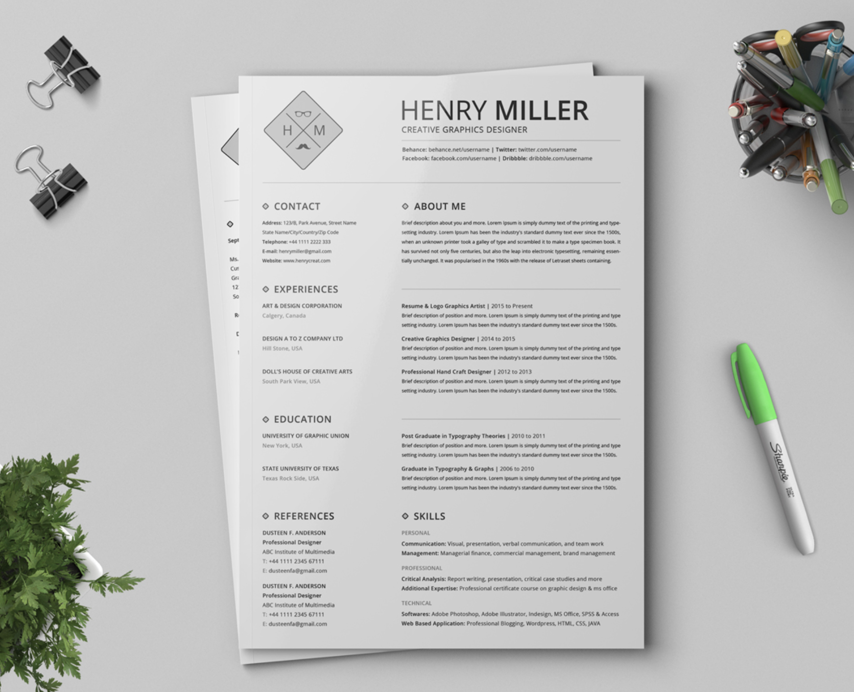 Black and White Resume Template for Word, Option 2