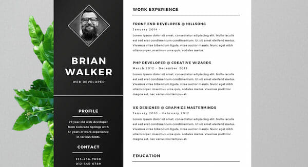 black and white microsoft word free resume template