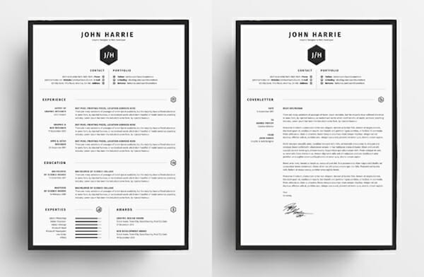 black and white resume design template free