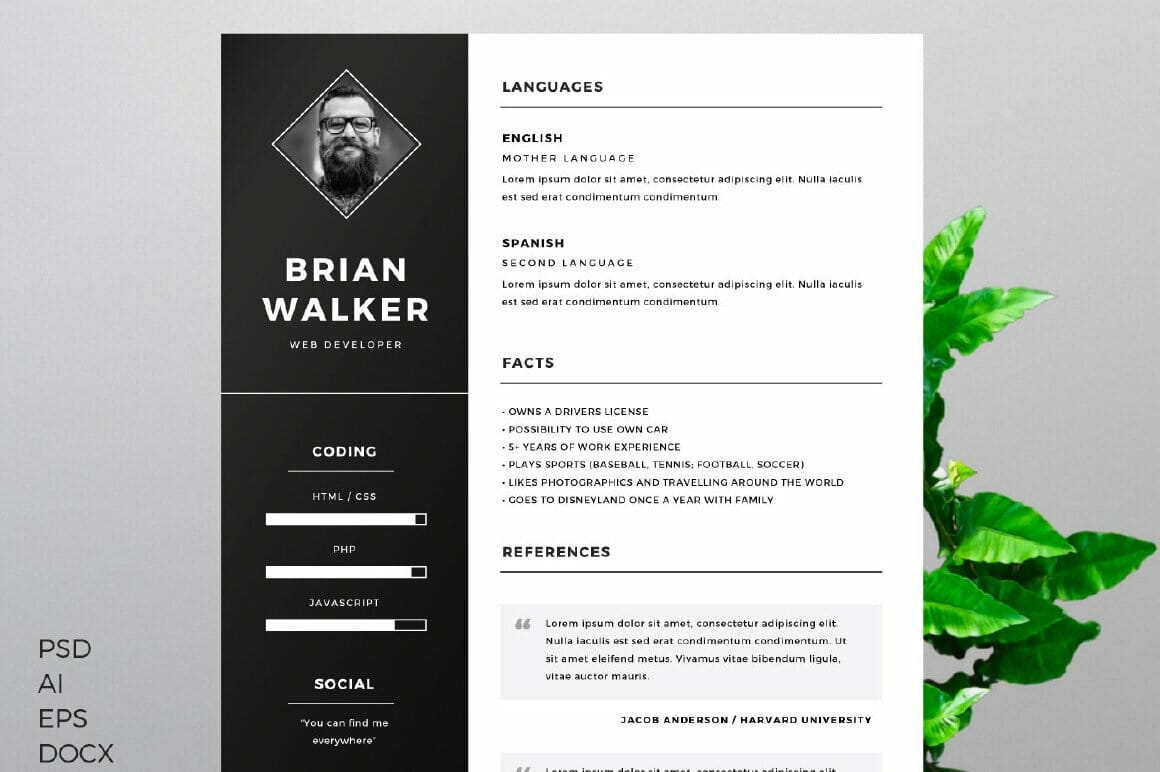 Black and White Resume Template for Word, Option 3