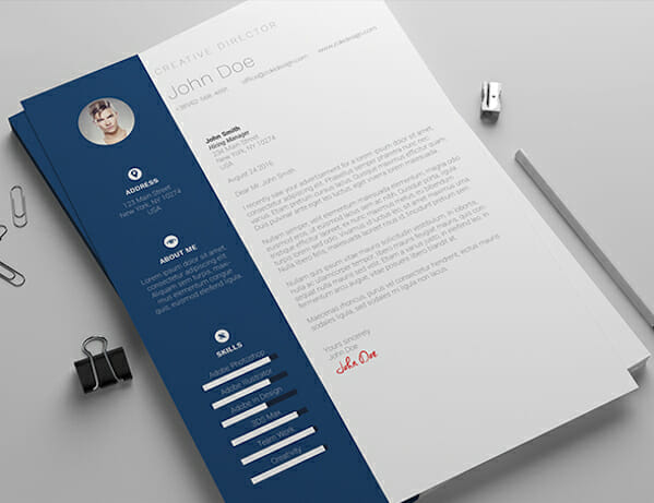 Beautiful Blue Microsoft Word Resume Template Free
