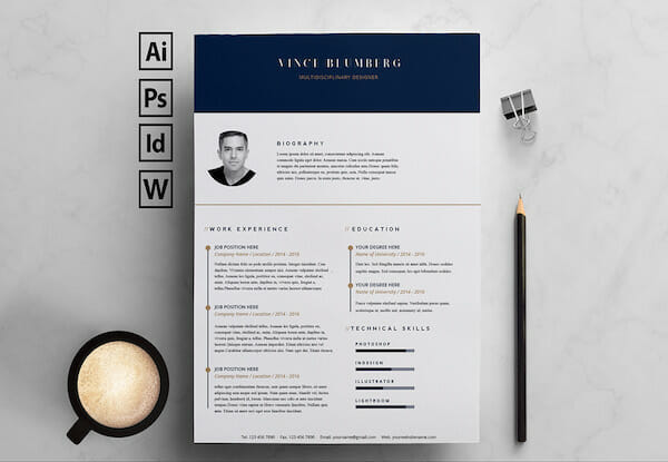 navy gold microsoft word resume template free - Ms Word Resume Template