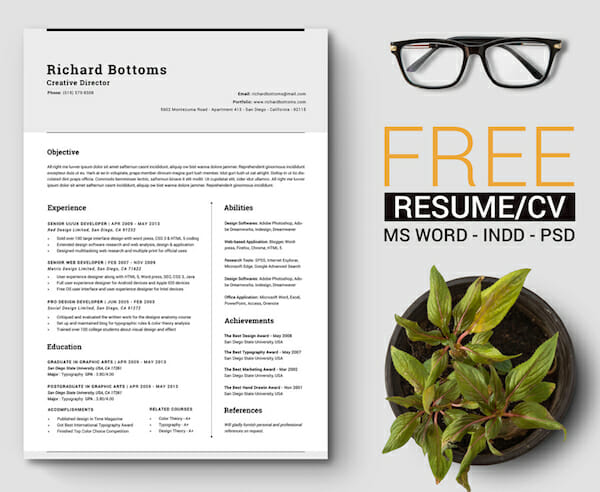 Word Template Design Free Resume
