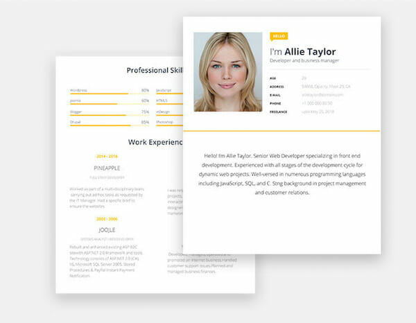 Yellow Microsoft Word Free Resume