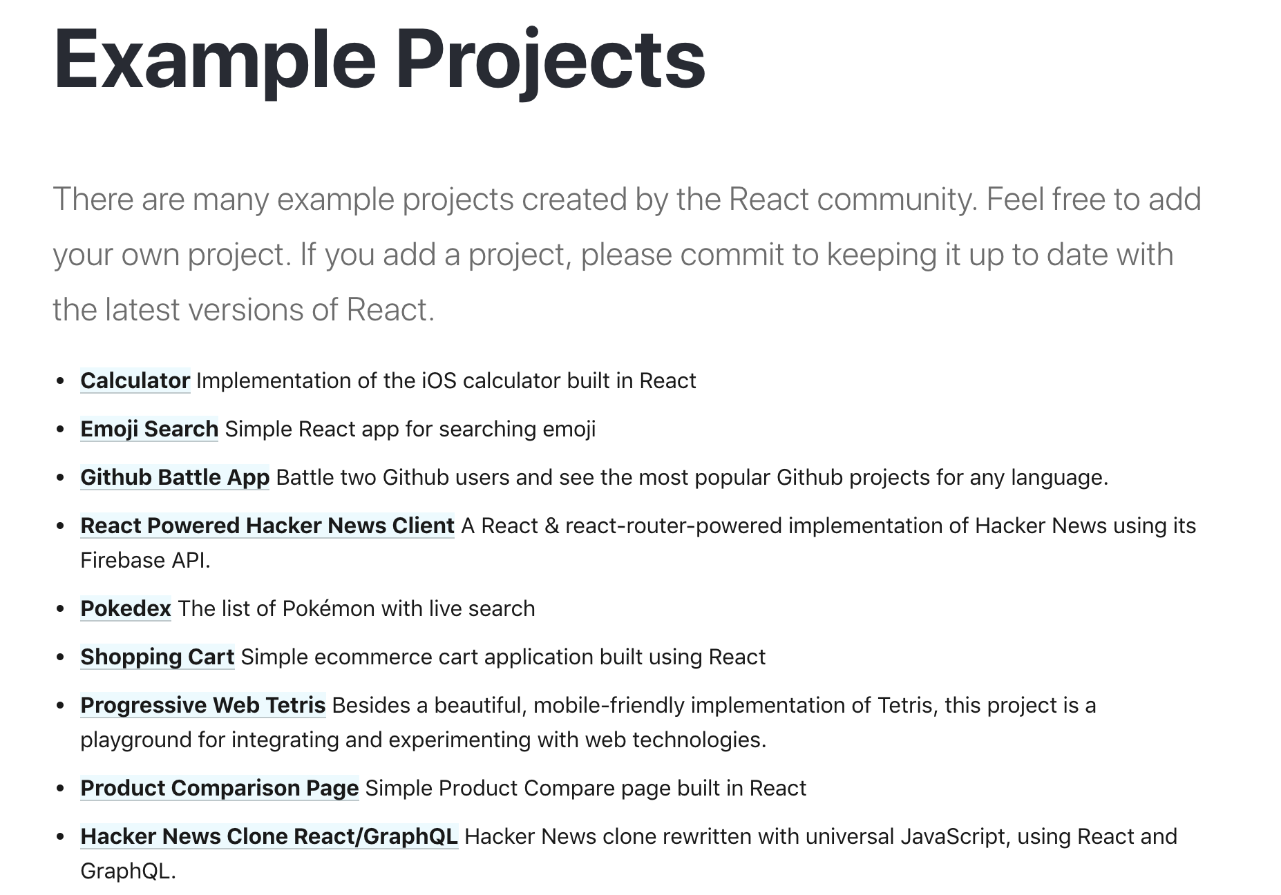 ReactJS.org Project Examples