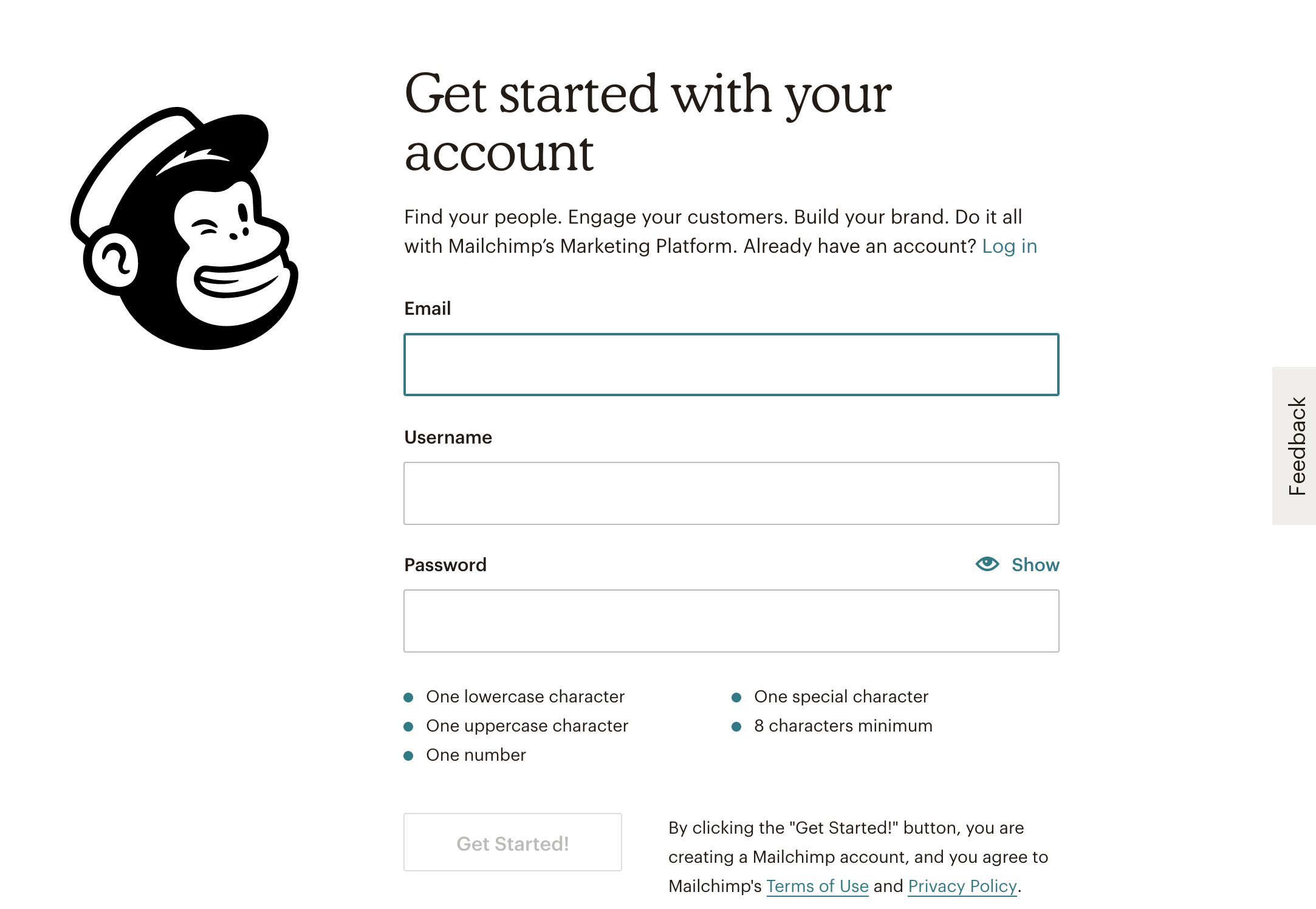 Another microcopy example: Mailchimp's Get Started page
