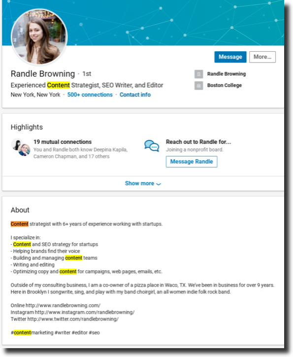 add keywords to your LinkedIn