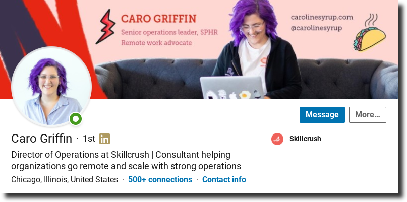 set up your LinkedIn, Caro Griffin Linkedin profile