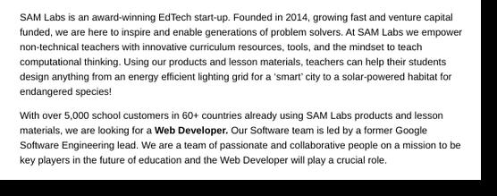 front end developer job posting company background