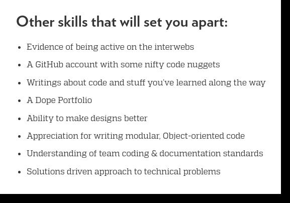 front end developer job posting pluses