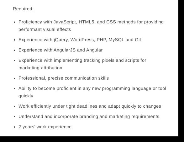 front end developer job postings requirements