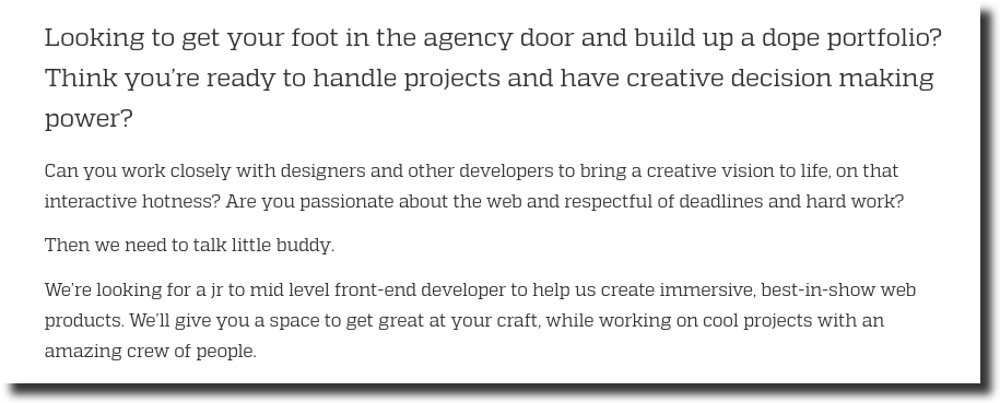 front end developer job posting responsibility