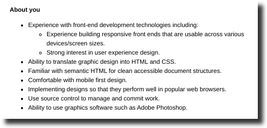 front end developer job posting skill level