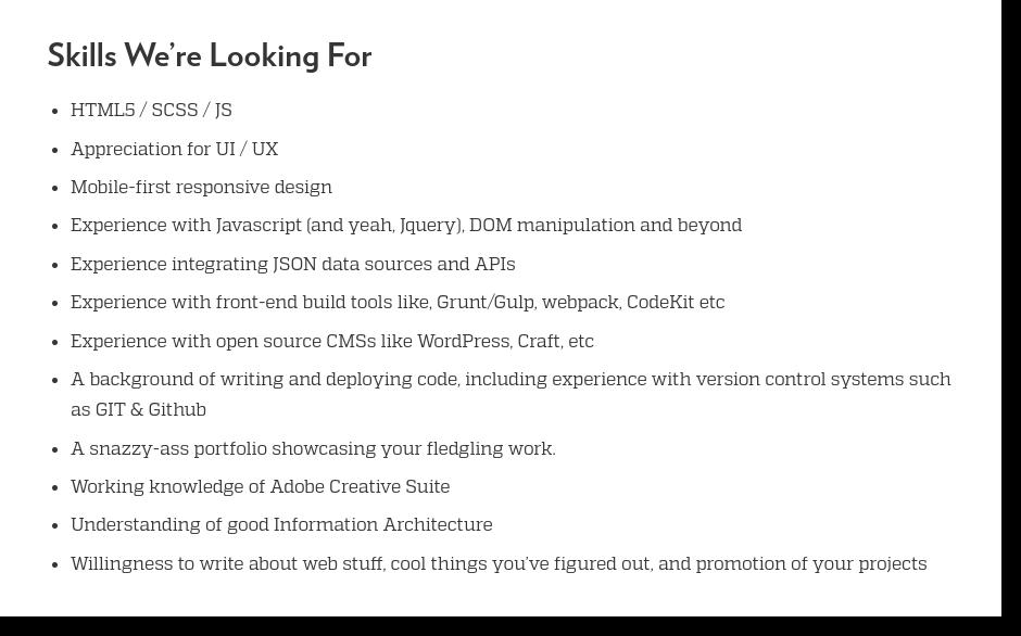 front end developer job postings technical
