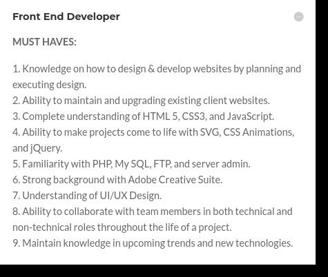 front end developer job posting must haves