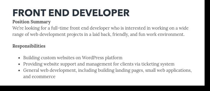 front end developer job posting title