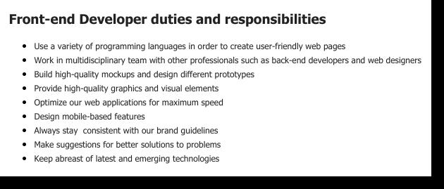 front end developer job posting responsibilities