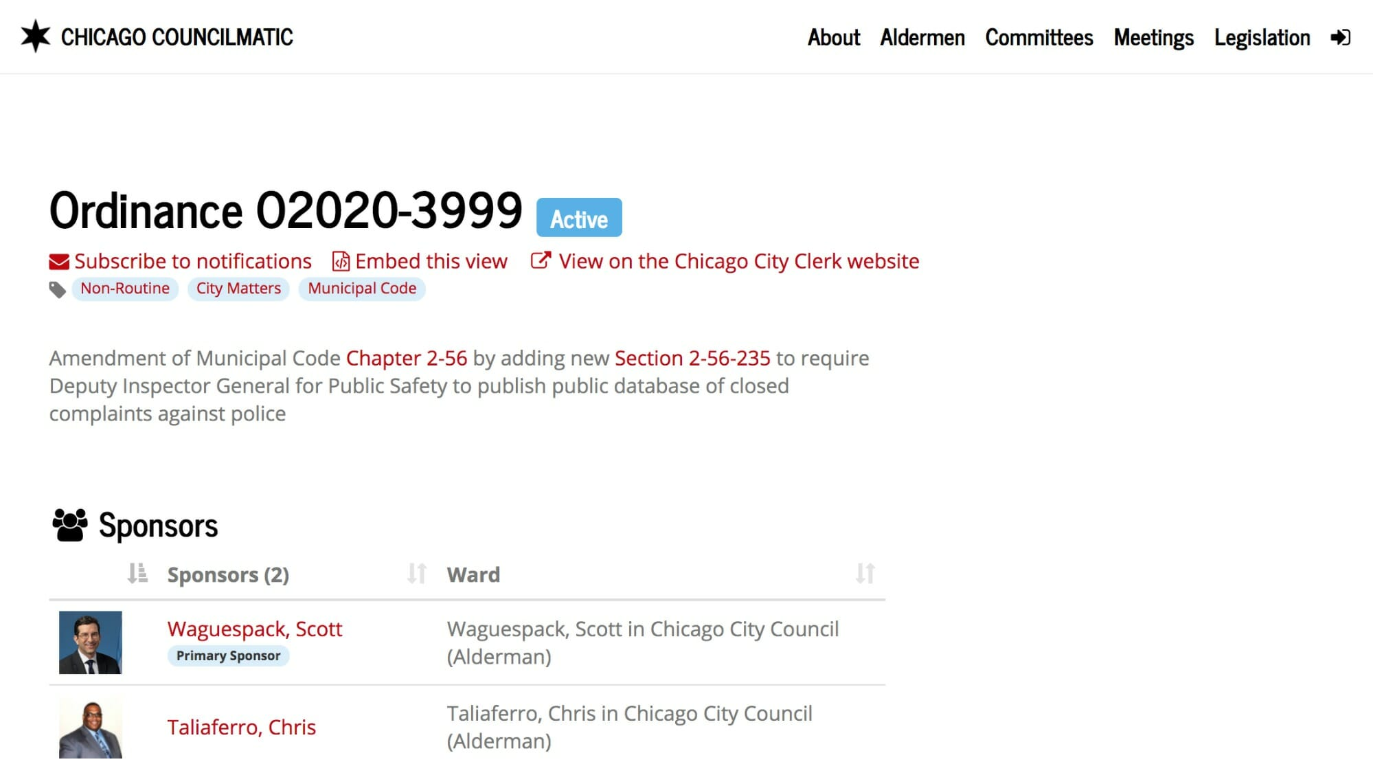 screenshot from the Councilmatic website of a local ordinance