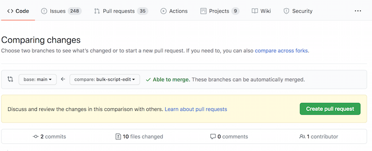 An image from the GitHub user interface showing the comparison between branches and the button to create a pull request.