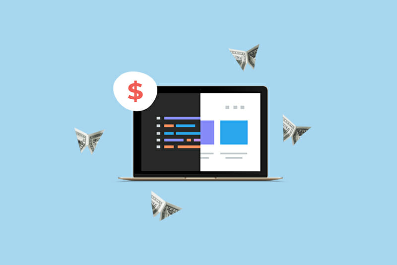 Origami money butterflies flutter around an open laptop with a dollar sign on the top left hand side of the screen
